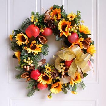 GloryStar Artificial Sunflower&Fruit Shape Wreath Garland Hanging Pendant for Indoor Outdoor Wall Wedding Home Decoration