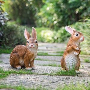 Image 5 - Figuritas de conejo de resina para decoración de jardín, patio de arte al aire libre, adorno de figuritas de animales para jardín
