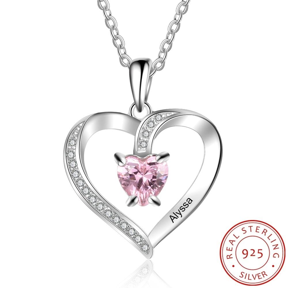 925 Sterling Silver Custom Name Heart Pendant Necklace Birthstone Custom
