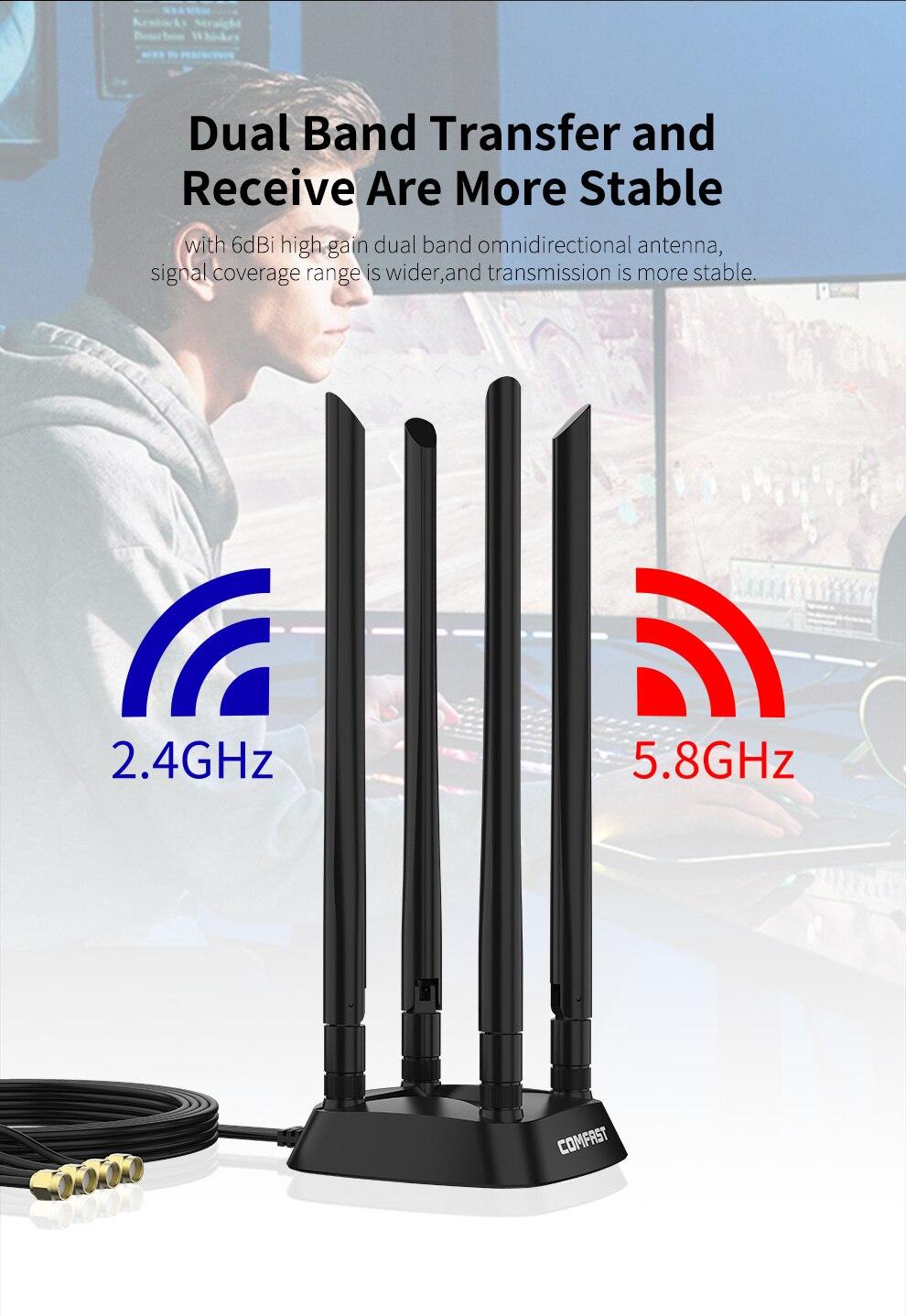 Мощный 4 * 6dBi с высоким коэффициентом усиления Dual Band 2,4 + Wi-Fi 5 ГГц SMA Всенаправленная 1,2 м удлинитель основание антенны для Беспроводной маршру...