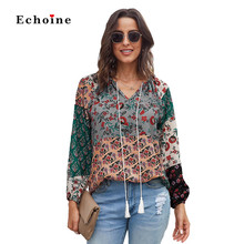 Women Multicolor Floral Print Peasant Blouse Ruched Tops Sexy V-Neck Long Billowed Sleeve Street Tunic Elastic Hem Lady Outwears