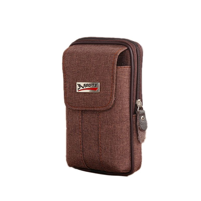 Men Casual Waist Bag Canvas Belt Hanging Case Carry Phone Pouch Wallet