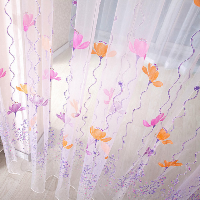 1 Panel Fabric Colorful Lotus Sheer Curtain High Quality Tulle Window Treatment Voile Curtain Drape Valance For Living room 2