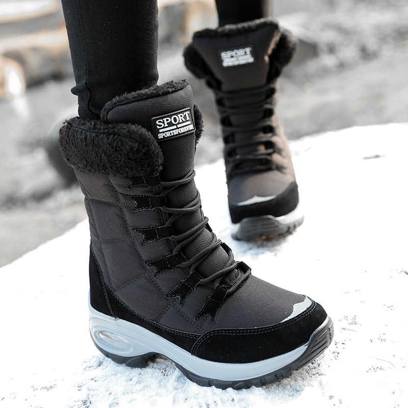 ERNESTNM kaliteli su geçirmez kış kadın botları sıcak tutmak orta buzağı kar botları bayanlar dantel-up rahat botlar Chaussures femme