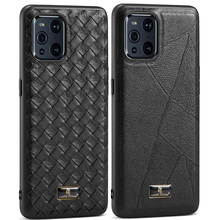 Luxury Business Leather Back Case For Oppo Find X3 Pro Deluxe pebbled weave pattern Para Cover