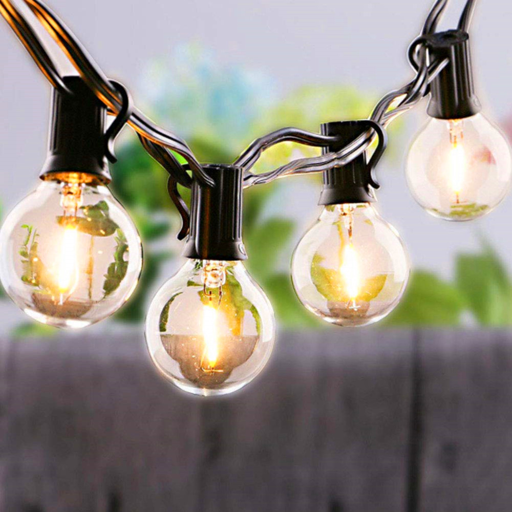 Outdoor Solar String Lights G40 Led Solar Light With 10 LED Clear Bulbs For Landscape Outdoor Patio Backyard Garden Cafe Shop