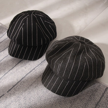 Winter Berets for Women Fashion Striped Hat Octagonal Cap Curved Eaves Literary Artistic Painter French  Black Beret