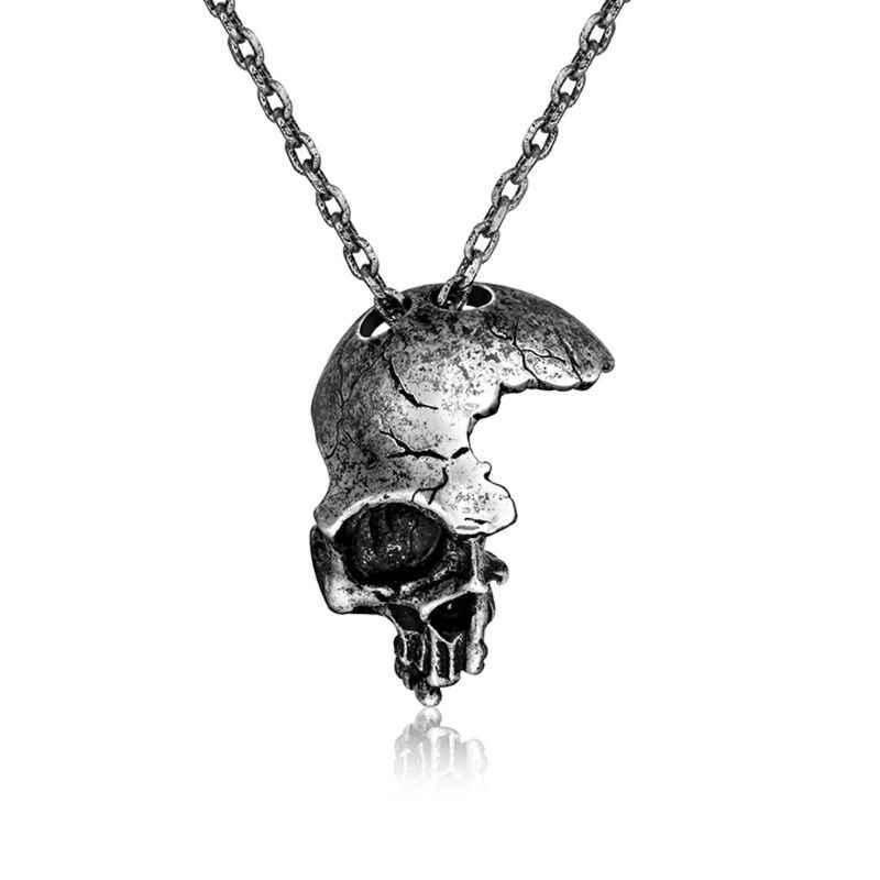 JAVRICK ハロウィンパンクヴィンテージネックレスシルバーハーフ壊れスカルヘッドペンダントネックレスのジュエリーアクセサリー