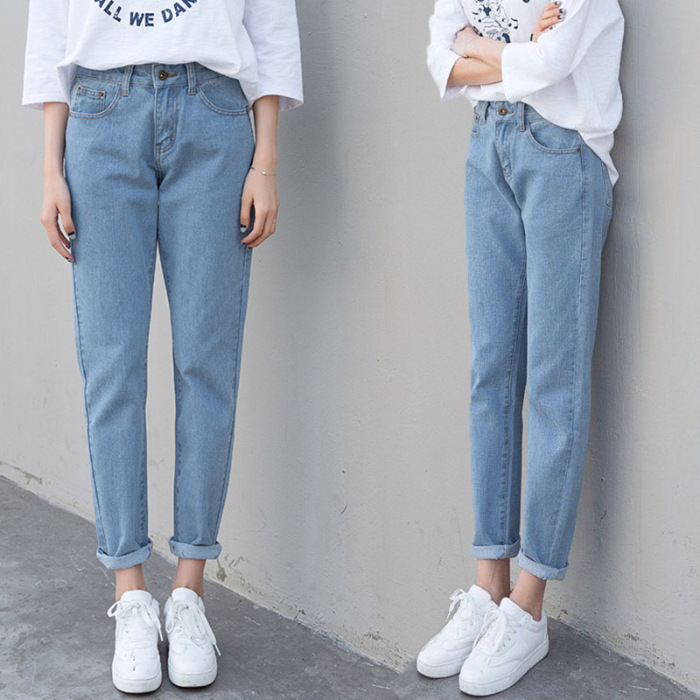Online Celebrity College Style Thailand High-waisted Harem Pants Capri Pants <font><b>BF</b></font> Style Straight-leg Pants <font><b>Children</b></font> image