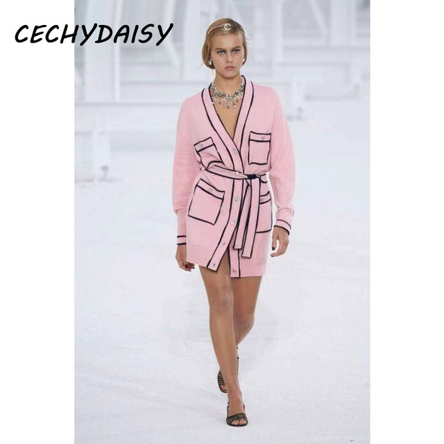 Pink Long Sweater Cardigans Runway Fashion V-Neck Long Sleeve Pocket Elegant Christmas 2020 Clothes With Sashes Knitted Outwear 2
