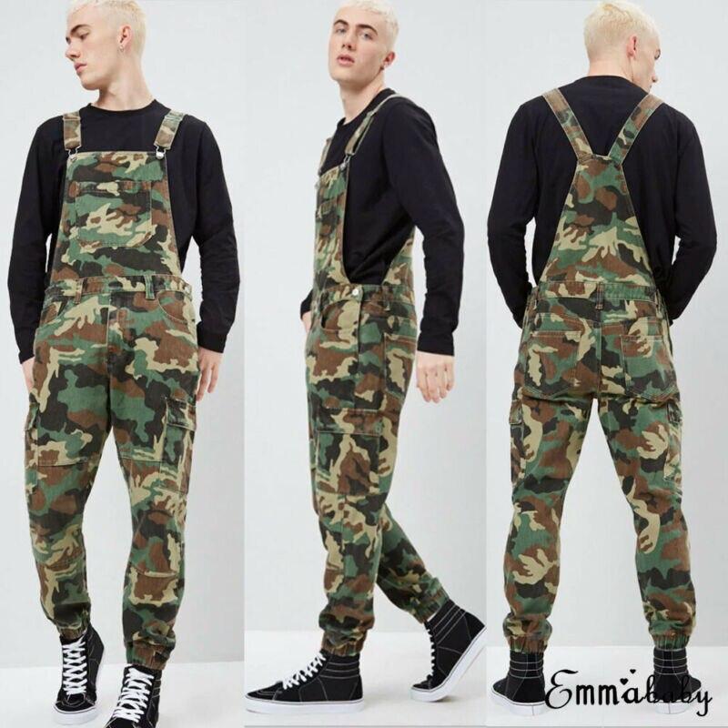 Men's Distressed Denim Camouflage Overalls Bib Jumpsuit Moto Biker Jean Pants Young