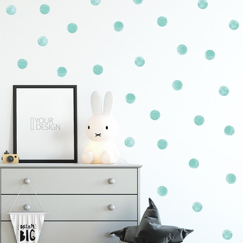 Watercolor Blue Green Polka Dots Wall Stickers Circles Hand Drawn Wall Decals For Kids Room Baby Nursery Home Decoration PVC