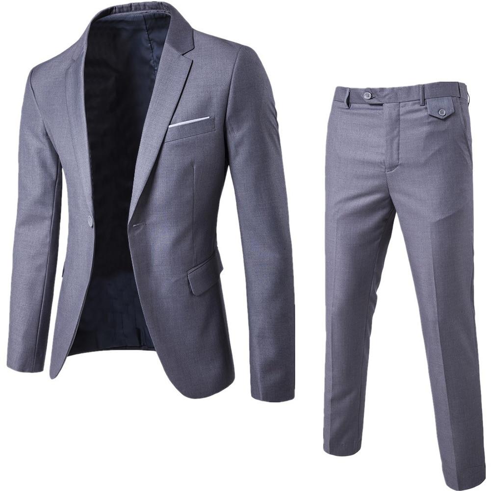 2019 Men's Fashion Slim Suits Men's Business Casual Clothing Groomsman 2-piece Suit Blazers Jacket Pants Trousers Sets