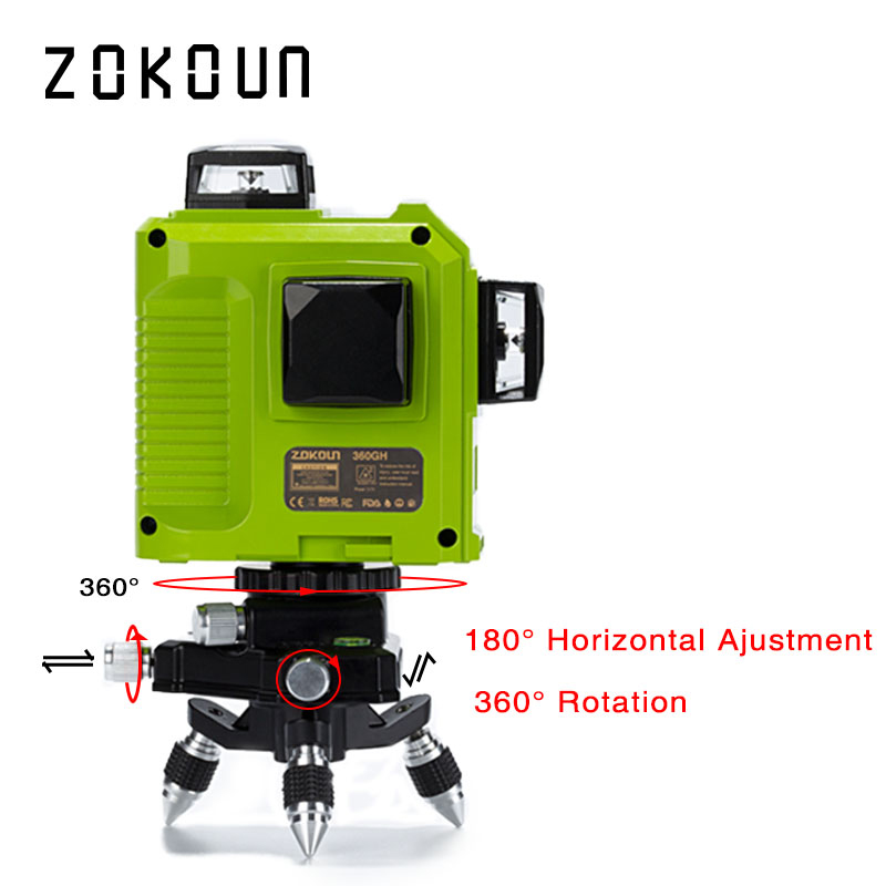 ZOKOUN 12 Lines 3D Self Leveling Green Laser Level 360 Degree Horizontal And Vertical Cross 4