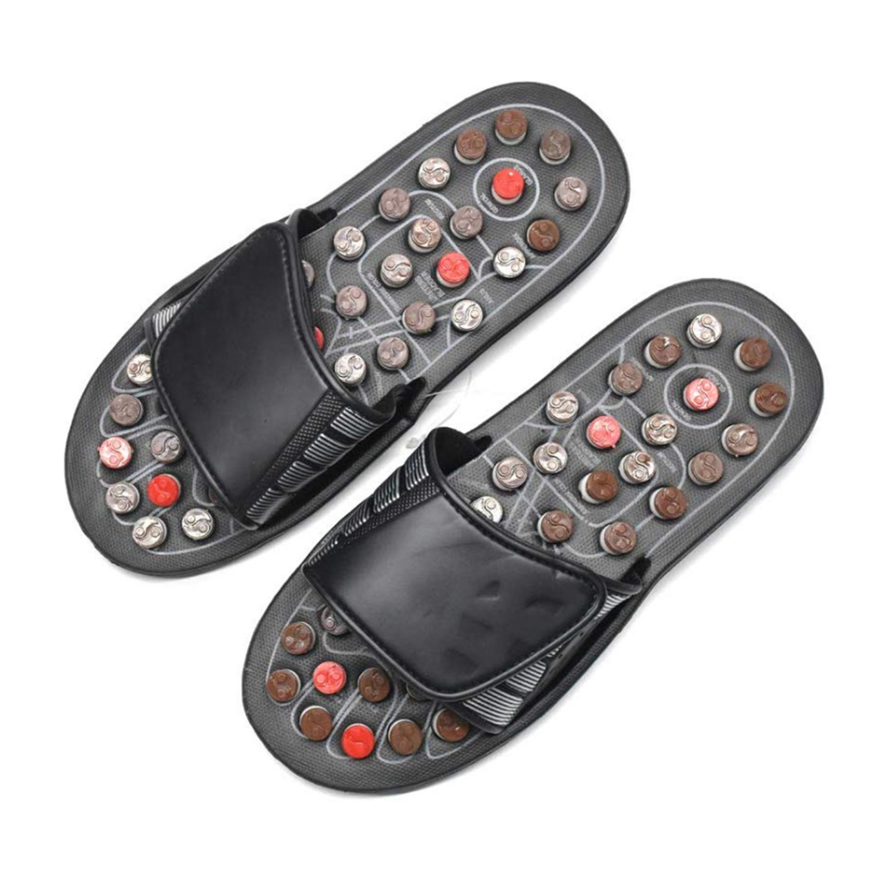Acupoint Foot Massage Slippers Sandals Feet Acupressure Therapy Activating Reflexology Health Care For Men Women Black 2