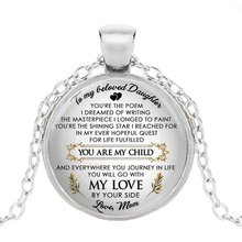 To My Beloved Daughter Time Gem Pendant Letter Necklace Handmade Glass Jewelry From Mom(China)