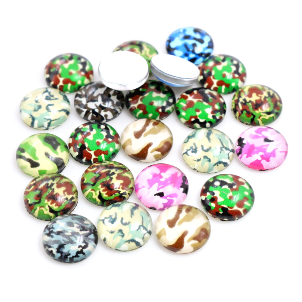 50pcs/Lot 12mm Camouflage Photo Glass Cabochons Mixed Color Cabochons For Bracelet Earrings Necklace Bases Settings-C6-35