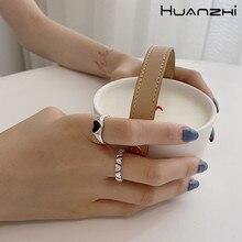 Huanzhi 2020 novo vintage na moda preto amor coração prata cor metal abertura anéis ajustáveis para feminino anel de festa