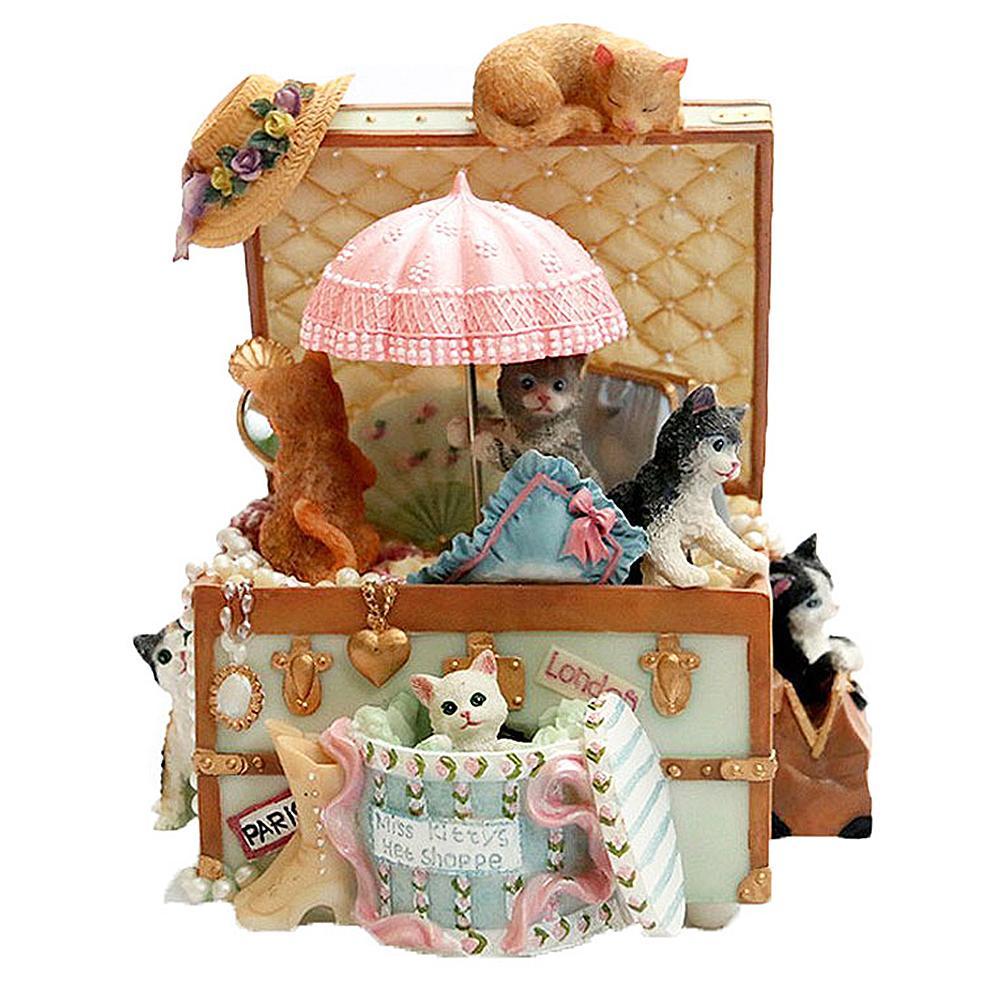 Creative romantique mignon chat rotatif boîte à musique cadeau de noël nouvel an cadeau anniversaire saint valentin cadeaux pour filles boîte à bijoux