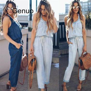 Denim Wash Overall For Summer Lady Women Arrival Cool Street Blue Plain Sleeveless Loose Jeans Jumpsuit Long Pants Rompers