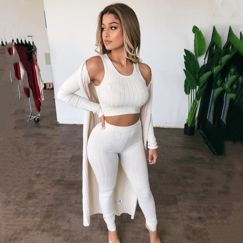 Fashion Basic Ribbed Casual Matching Sets Women Sleeveless Bodycon Solid Sexy Two Piece Outfits Skinny Crop Top And Panst Set