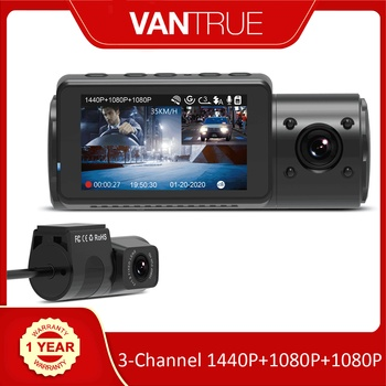 Vantrue N4 Dash Cam 3 Channel 1440P Front & 1080P Inside & 1080P Rear Triple Dash Camera with Infrared Night Vision, Capacitor 1