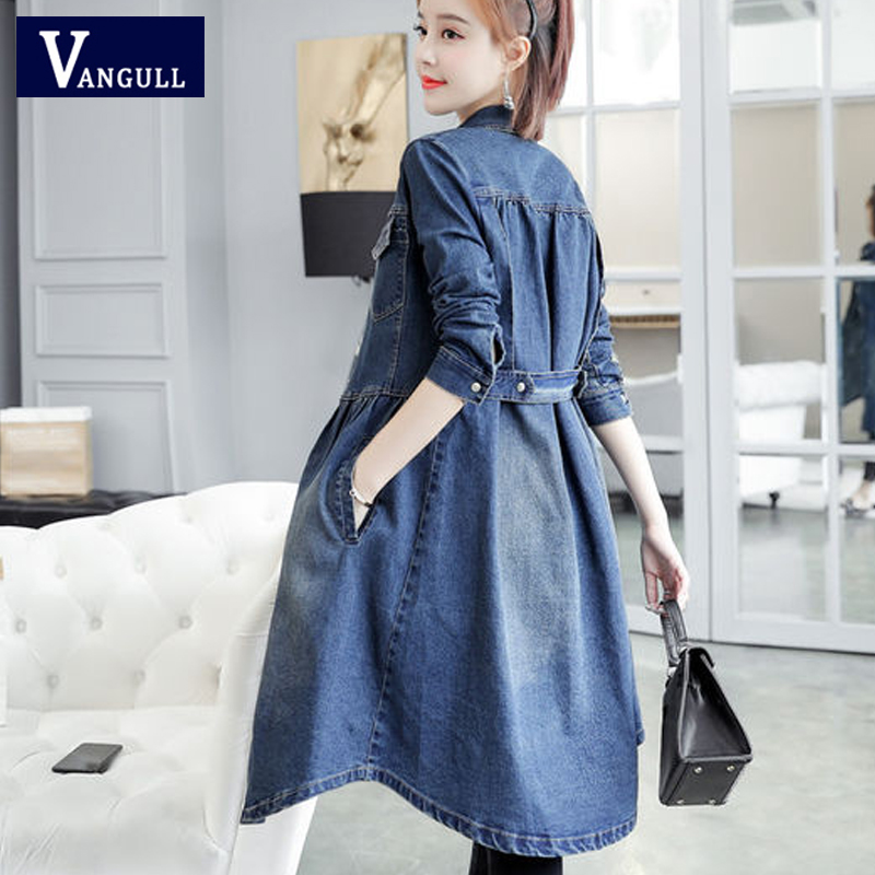 Vangull Long Denim   Trench   Coat Women Long Sleeve Solid Slim Jean   Trench   2019 New Autumn Casual Single Breasted Blue Denim   trench