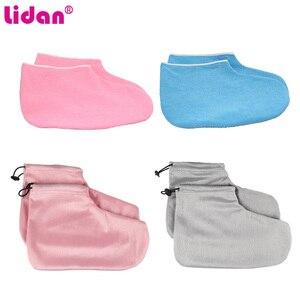 1 par rosa parafina cera proteção luvas máscara de pé cuidados com os pés spa ferramenta para clarear esfoliate para pés pele hidratante manga