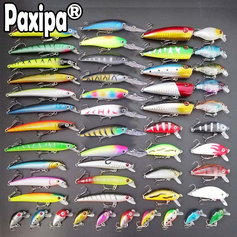 20pcs Mixed Models Fishing Lures Set Minnow Bass Sharp Hooks Hard Fishing Baits