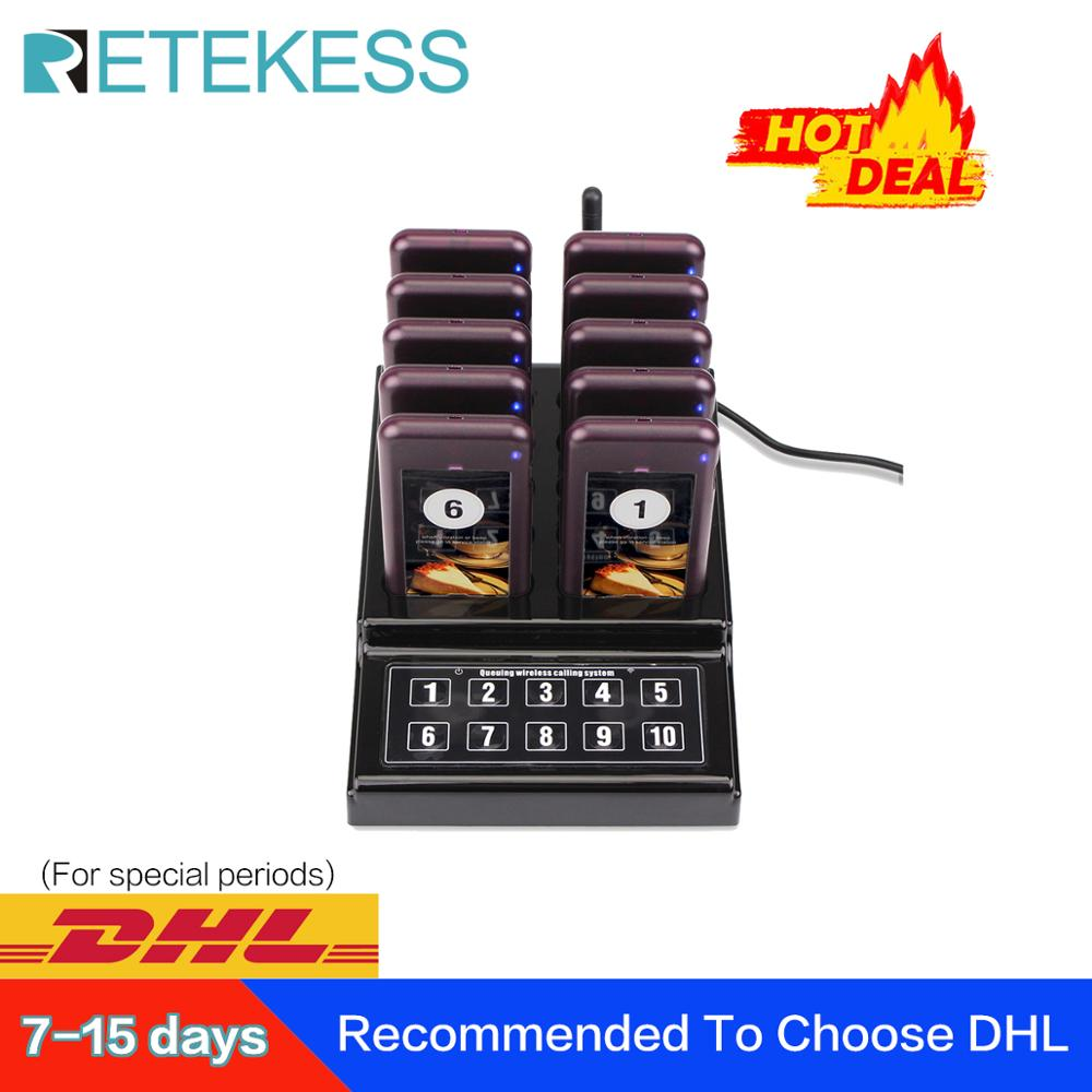 RETEKESS Restaurant Pager Wireless Waiter Paging Queuing Calling System Buzzer Pager For Guest For Church Nursery Restaurant