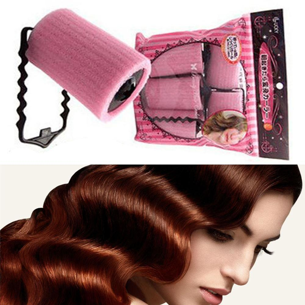 New 6Pcs/Set Big Self Grip Hair Foam Rollers Cling Any Size No Heat No Clip Hair Curling Styling DIY Magic Spiral Curlers Aug 27