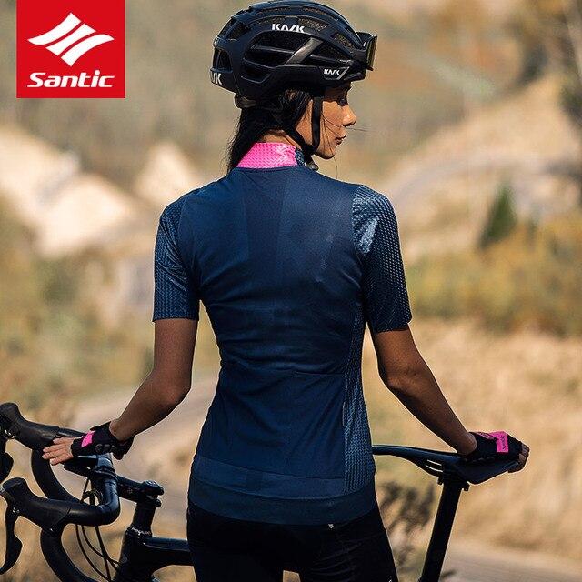 2020 Santic femmes équipe cyclisme maillot manches courtes cyclisme vêtements course sur route vêtements de vélo 100% Polyester respirant
