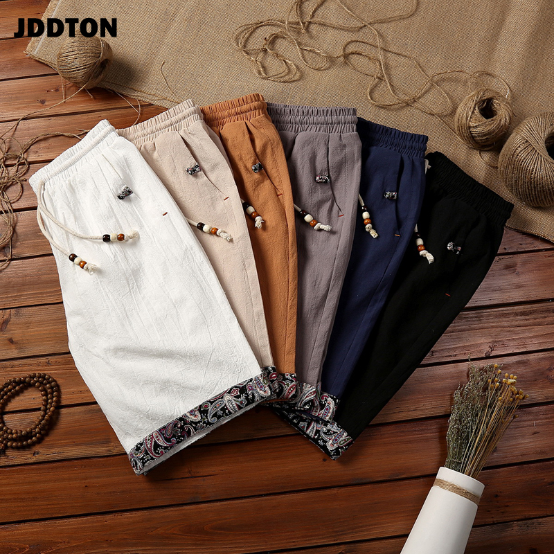 JDDTON Summer Mens Cotton Linen Shorts Loose Homme Knee Length Beach Short Chinese Style Breathable Man Fashion Streetwear JE451