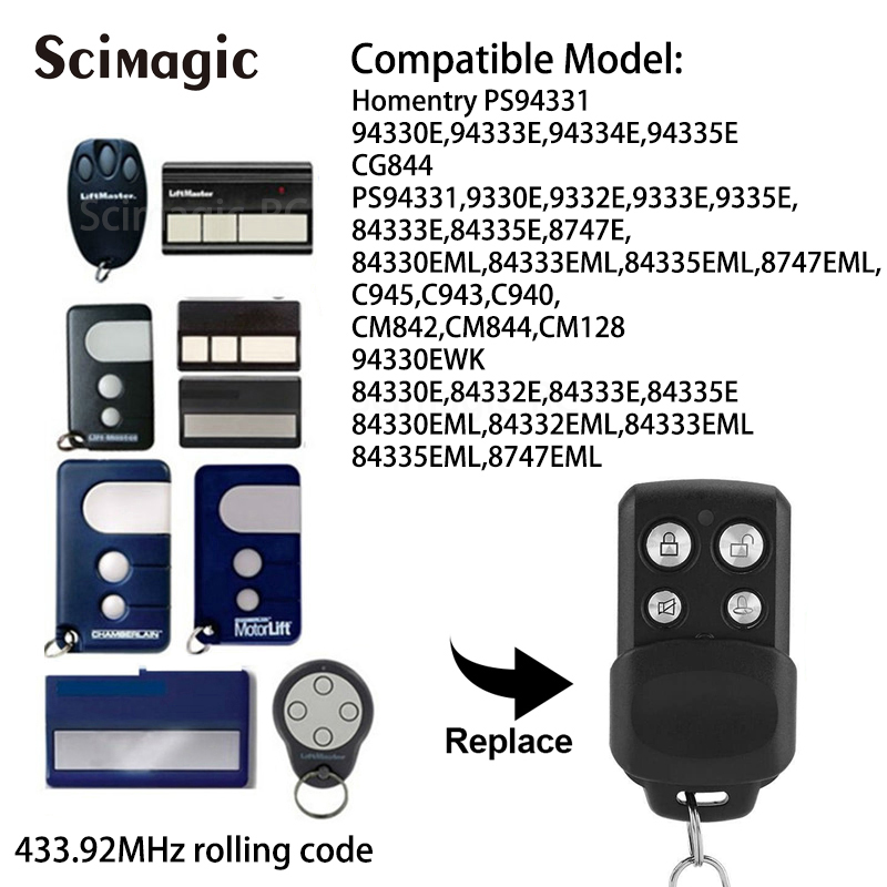 433.92MHz Rolling Code Liftmaster 94335E, Chamberlain 94335E Garage Door Remote Control Replacement Remote Control Duplicator