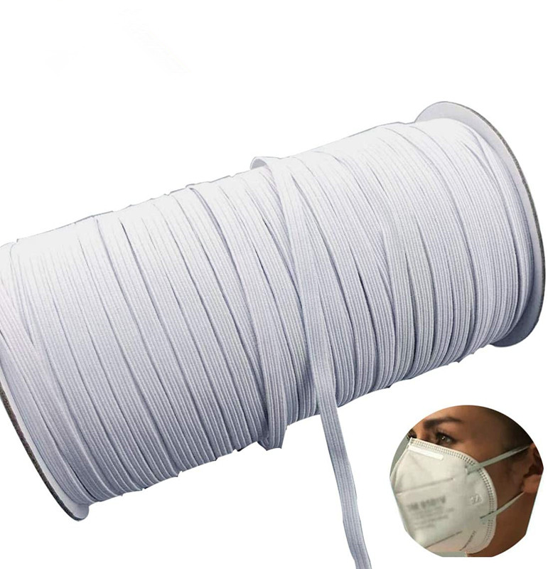Elastic Band White Elastic Cord Heavy Stretch High Elasticity Knit Elastic Band for Sewing Crafts DIY, Mask, Bedspread,
