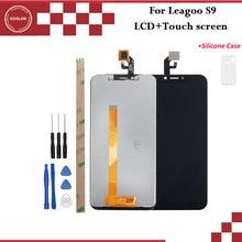 Leagoo s9 lcd 디스플레이 및 터치 스크린에 대 한 ocolor 도구 및 접착제 + 실리콘 케이스와 leagoo s9에 대 한 5.85 전화 액세서리