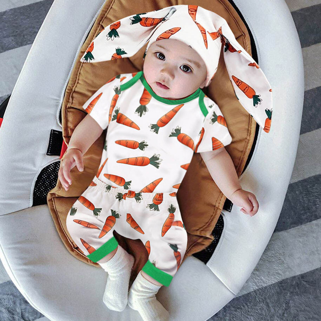Summer Baby Clothes Set Short Sleeve Bodysuit Pants 3 Pieces Rabbit Easter Outfits Infant Clothing Girls Boy Baby Clothes Unisex