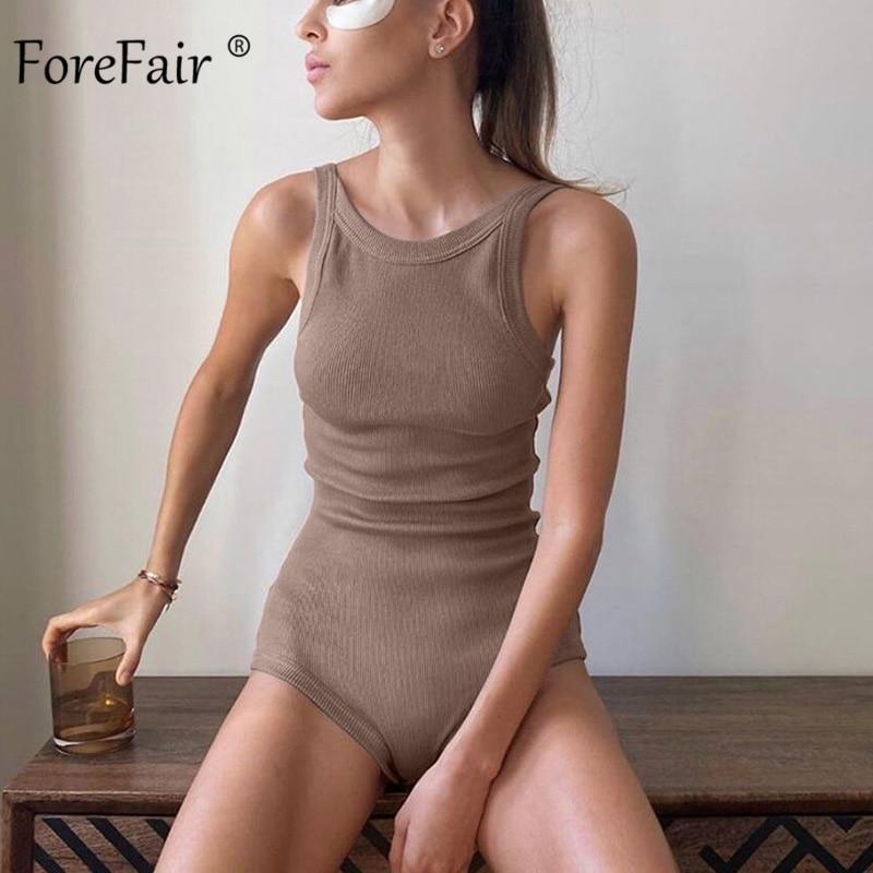 Forefair Sexy Women Bodysuit Ribbed Knit Sleeveless O Neck Streetwear Rompers Slim Bodycon Bodysuit Women