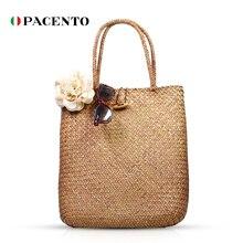 PACENTO сумки Плетеные из ротанга сумка хозяйственная сумка ручной работы соломы летний пляж сумка большой емкости сумки для женщин