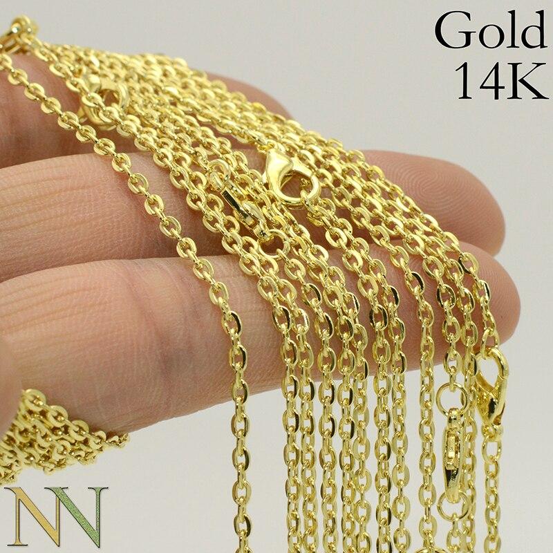 50 шт.-18/24/30 дюйм (ов) ожерелье из золотой цепочки для женщин, золотая цепочка ожерелье 14 K, 14Kt соединительный кабель овальной формы ожерелье Rolo ...