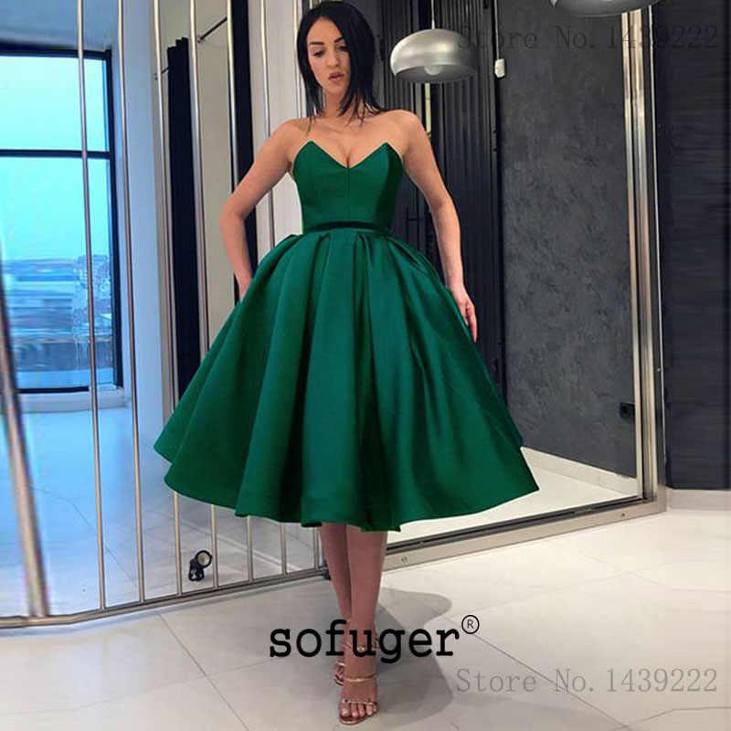 Verde querida curto na altura do joelho cetim vestidos de baile de formatura festa vestido de noite vestidos de festa