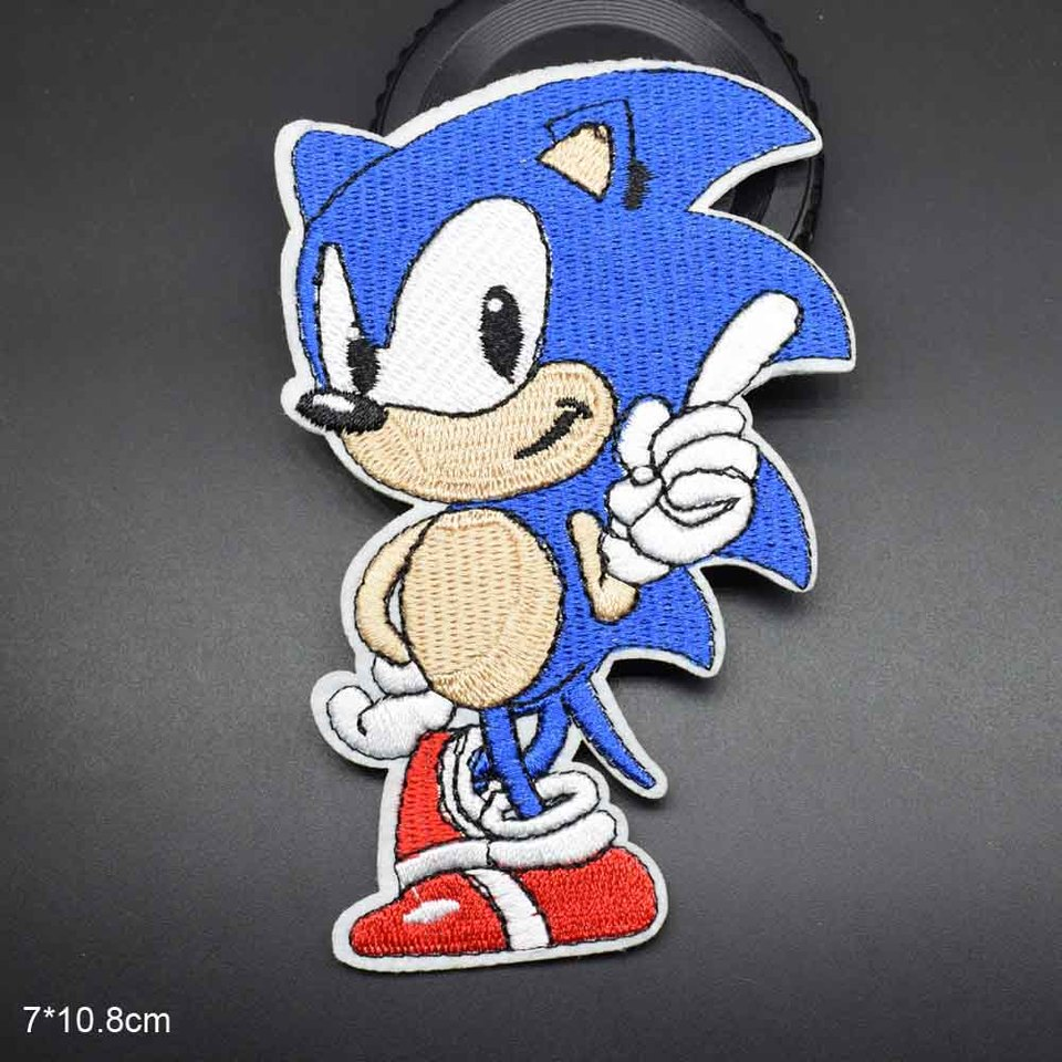 Big Eye Cool Blue Hair Boy Iron On Embroidered Clothes Sonic The Hedgehog Patches For Clothing Jean Backpacks Shoolbag Wholesale Patches Aliexpress