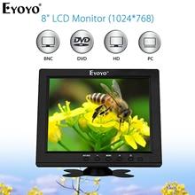 Eyoyo EM08B 8 Inch Portable CCTV Mini TV Monitor TFT LCD Screen 1024x768 Display With VGA BNC HDMI For Security Surveillance