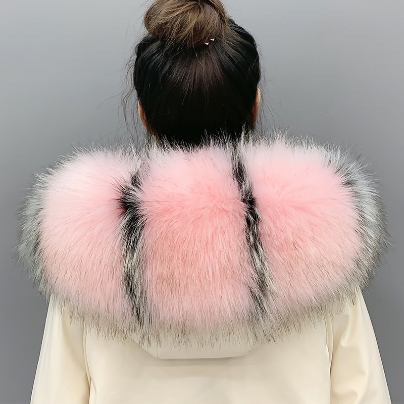 Super Large Wide Faux Raccoon Fur Collar Women Men Winter Jacket Decorative Fur Collar Extra Big New Color Fur Scarves