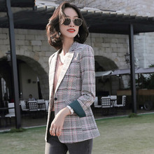 Retro Plaid Ladies Blazer Loose Casual Long Sleeve Suit Jacket Stylish Blazers Mujer Spring Autumn Women's Clothing New MM60NXZ