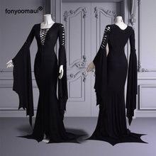 5xl tamanho grande cos morticia addams piso vestido traje adulto feminino punk gótico bruxa vintage sexy oco rendas até vestido fino