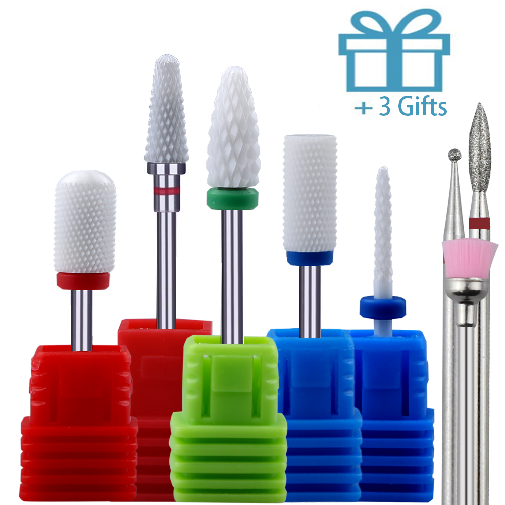5PCS Ceramic Nail Drill Bits Set Milling Cutter Rotary Burr Bits Electric Machine For Manicure Accessories Nail Files Art Tools