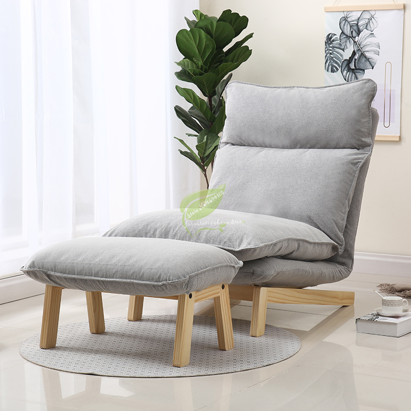 Japanese Style Lazy Sofa Recliner Solid Wood Frame Removable and Washable Deck Chair Living Room Bedroom Balcony Single Chaise