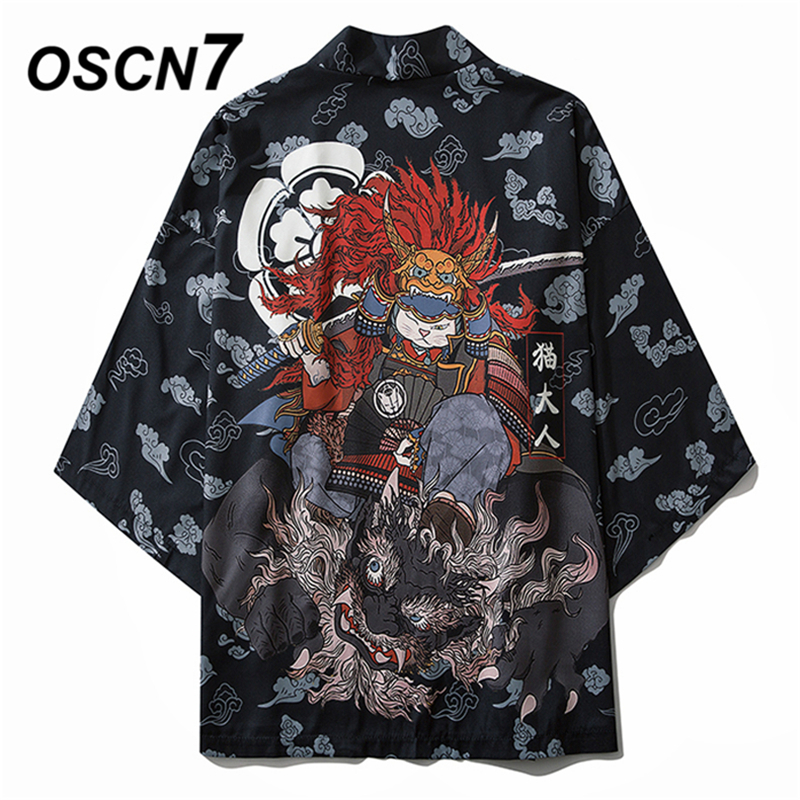OSCN7 Printed Kimono Cardigan Shirt Men 2020 Japanese Streetwear Three Quarter Sleeve Coat Shirts Harujuku Mens Shirt 6033
