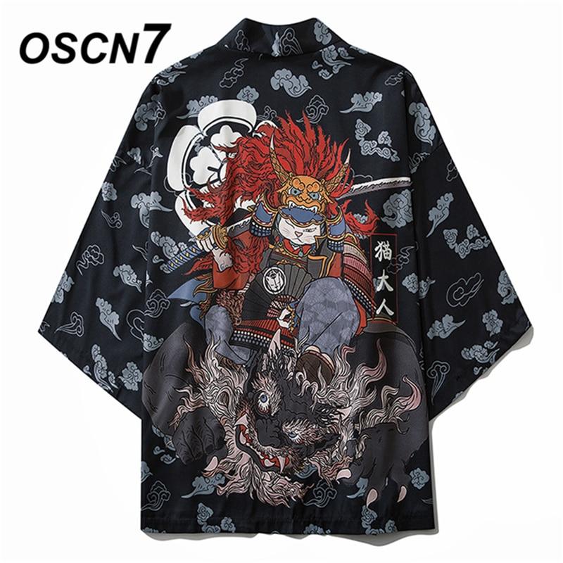 OSCN7 Printed Kimono Cardigan Shirt Men 2020 Japanese Streetwear Three Quarter Sleeve Coat Shirts Harujuku Mens Shirt 6033